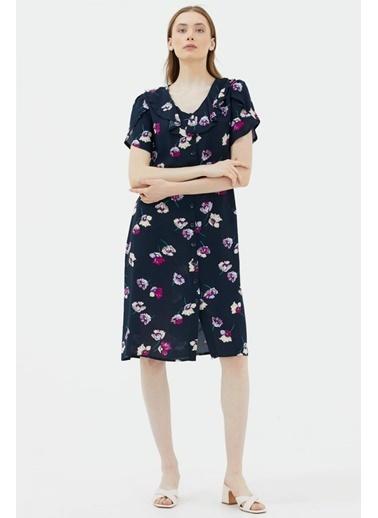 Sementa Çiçek Desenli Midi Boy Gömlek Elbise - Lacivert Lacivert